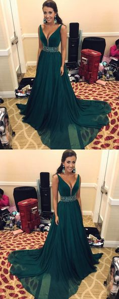 V-Neck Long Prom Dress, A-Line Green Party Dress, Chiffon Evening Dress With Beaded Waist,MB 294