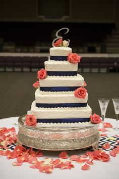 Navy Blue And Coral Wedding Cakes images