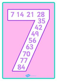 LA TABLA DEL 7 Teaching Multiplication, Kindergarten Math Worksheets, Math Resources, Teaching Math, Maths, Math Charts, Math Anchor Charts, 2nd Grade Math, Fun Learning