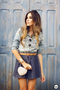 Heart skirt and denim shirt