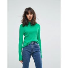 Weekday High Neck Jumper with Rib Detail (80 AUD) ❤ liked on Polyvore featuring tops, sweaters, green, long sleeve jumper, high neck long sleeve top, high-neck tops, green sweater and long sleeve sweater