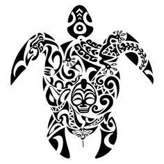Turttle combination. Maori tatoo