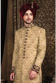 Wedding Sherwani-Beige-Zari Work-SH221