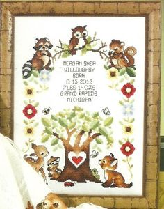 woodland babies cross stitch - Google Search