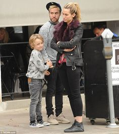 Family outing: Pete Wentz went out for lunch with girlfriend Meagan Camper and son Bronx on Monday in Los Angeles