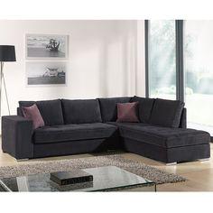 Canapé d'angle noir en tissu FIGARI (12 coloris de coussins au choix)