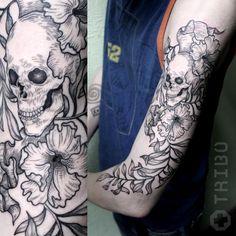 Arm Tattoo, Chasing Pavements, Skull, Floral, Flowers, Tattoo Ideas, Instagram, Tatoo, Arm Tattoos