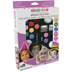 @Overstock - REEVES-Snazaroo Ultimate Party Pack Face Painting Kit. This kit includes everything you need for endless hours of face painting fun! Washable; hypoallergenic; and non-toxic!http://www.overstock.com/Crafts-Sewing/Snazaroo-Ultimate-Party-Pack-Face-Painting-Kit/7541560/product.html?CID=214117 $24.99