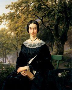 Barend Cornelis Koekkoek, Porträt einer jungen Frau, 1846 Vrouw, Lezen, Portret, Kunst, Zeeschilderijen, Artiesten, Hedendaagse Kunst, Mona Lisa, Jonge Vrouwen