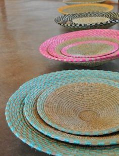 The Bonakele Collection - Block weave open basket sets handwoven from natural lutindzi grass with accents of turquoise, pink, black, gold and white sisal fibre (other colours available). By Gone Rural.
