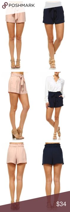 NAVY Pleated Front-Tie Shorts This listing is for the NAVY version of the shorts shown in this listing. Shorts have a comfortable gathered stretch at the back waist, with a belt sash to tie in front. Pleated front with pockets on sides. EVIEcarche Shorts