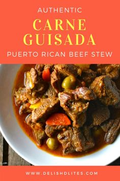 Carne guisada is like a warm belly hug, full of deliciously tender meat, potatoes, carrots & plenty of Latin spices. Get this authentic Puerto Rican recipe! Puerto Rican Dishes, Puerto Rican Cuisine, Puerto Rican Recipes, Top Recipes, Mexican Food Recipes, Beef Recipes, Cooking Recipes, Arroz Con Pollo Recipe Puerto Rican, Puerto Rican Beans