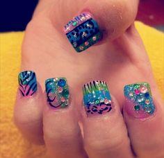 Crazy rainbow nails Rainbow Nails, Toe Nails, Pretty Nails, Nail Ideas, Nail Designs, Projects To Try, Makeup, Beauty, Feet Nails
