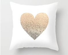 Add a little glamour to your couch décor! This is a pillow cover done in a high quality home décor fabric with a vinyl glitter heart centered in