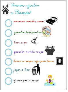 TAREFAS PARA AS CRIANÇAS Infant Activities, Activities For Kids, Organize Life, Interior Design Living Room Warm, Flying With A Baby, Planners, Flylady, Personal Organizer, Mom Hacks