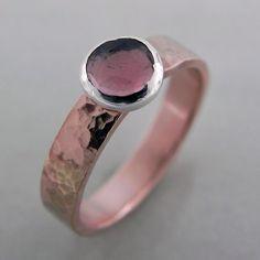 Rose Cut Tourmaline Ring 10K Rose Gold. $380.00, via Etsy.