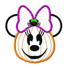 Character Jack o lantern with spider bow by ohmyapplique on Etsy
