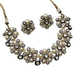 Mp Fine Jewellery Designer Necklace Set With Cz and Pearl