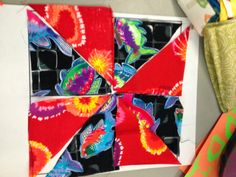 Teaching patchwork pinwheels to elementary children.  Ahmelie: Oofta Studio Blog