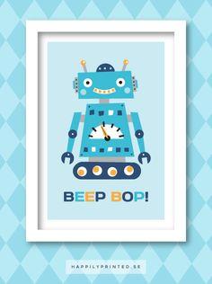 Barntavla med robot. Rolig och färgglad tavla för barn från HappilyPrinted. Fin väggdekor till barnrummet