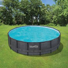 Wicker Metal Frame Pool Package – Blue Wave Products Intex Above Ground Pools, Small Above Ground Pool, Above Ground Swimming Pools, In Ground Pools, Large Stock Tank, Stock Tank Pool, Backyard Pool Designs, Backyard Patio, Pool Landscaping