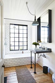 Are you bringing the hardwood into the bathroom? I really like it. I feel like it brings some warmth.