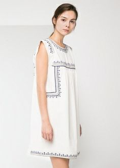 Ethnic embroidered dress - T-shirts and tops - Women - MANGO