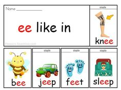ee words - Free ee Phonics Flip Book - a Guided Reading Phonics Lesson Jolly Phonics Activities, Teaching Phonics, Phonics Worksheets, Kindergarten Activities, Phonics Books, Phonics Lessons, Ee Words, Phonics Sounds, Word Poster