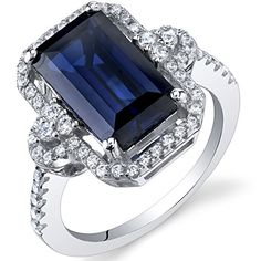 Created Sapphire Cocktail Ring Sterling Silver 4.50 Carats Octagon Cut Size 8 Peora http://www.amazon.com/dp/B00VF3FQ0U/ref=cm_sw_r_pi_dp_1V5Wwb128AHST