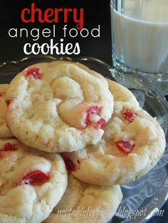 Cherry Angel Food Cookies Source: Alison S. I was never a huge fan of cherries, but after I tried these cookies. I am lovin. Cherry Desserts, Cherry Recipes, Cookie Desserts, Just Desserts, Cookie Recipes, Delicious Desserts, Dessert Recipes, Cookie Bars, Cookie Dough