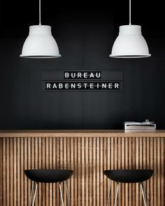 Back wall-- label signage- white pendants. Great, simple design inspiraton for a reception desk or bar! Deco Restaurant, Restaurant Design, Black Restaurant, Commercial Design, Commercial Interiors, Cafe Design, House Design, Decoration Evenementielle, Reception Counter
