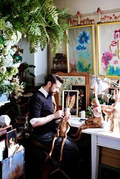 The studio of textle artist Mister Finch~Image via Sweet Paul Magazine Textile Sculpture, Soft Sculpture, Mister Finch, Atelier D Art, Sweet Paul, Paperclay, Textile Artists, Fabric Art, Art Studios