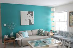 Turquoise Room Decorations – Aqua Exoticness Ideas and Inspirations Tags: turquoise room, turquoise room decor, turquoise bedroom ideas, turquoise living room Deco Turquoise, Turquoise Walls, Turquoise Accents, Turquoise Decorations, Wall Decorations, Teal Blue, Room Paint Colors, Paint Colors For Living Room, Living Room Furniture