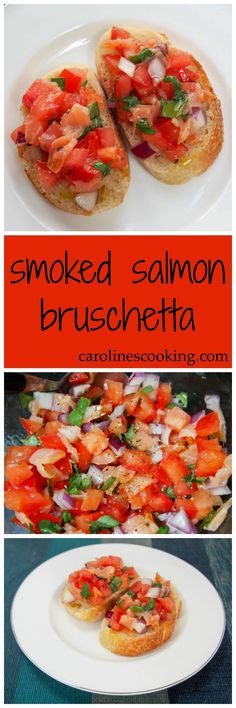 smoked salmon bruschetta - a delicious twist on the classic appetizer via @carolinescookng