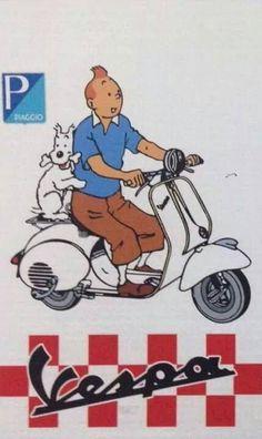 Read More About Vespa Tintin. Scooters Vespa, Vespa Ape, Piaggio Vespa, Lambretta Scooter, Scooter Motorcycle, Motor Scooters, Vespa Vintage, Vintage Ads, Vintage Posters
