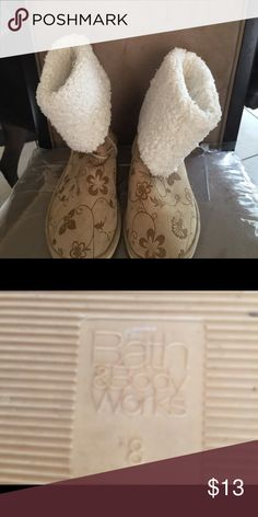Tan boots Tan boots with ivy/flower design from Bath n Body works, size 8, good condition bath & body works Shoes Ankle Boots & Booties