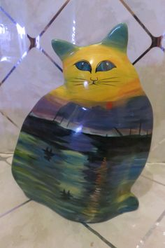 Handpainted Ceramic CAT Planter cat shape planter Colorful Great Display Piece