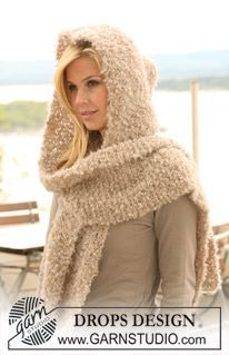 """DROPS hooded scarf in garter st in """"Puddel"""". ~ DROPS Design (May need to click on language underneath image to get it in English.)"""