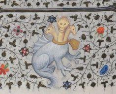 "Medieval ""King Ghidorah"". 15世紀の写本にみられるキングギドラの図(違う 1422-1425年 ÖNB Cod. 1855 f.221v"