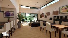 Projekt moderného 4-izbového rodinného domu s názvom Bravo. Súčasťou domu je komfortná obývacia izba spojená s kuchyňou , spálňa, dve detské izby, samostatné WC, kúpeľňa, sklad potravín, šatník, hospodárska miestnosť a letná terasa. Zaujimavosťou domu je zvýšená svetlá výška obývacieho priestoru, ktorá zabezpečuje optimálne presvetlenie dennej časti domu. Conference Room, Divider, Table, Furniture, Home Decor, Decoration Home, Room Decor, Tables, Home Furnishings
