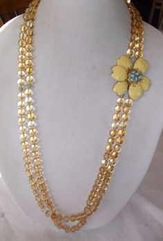 Gold glass beaded two strand necklace with by samstreasury on Etsy