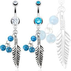 Feather with Blue Turquoise Semi Precious Stone Beads Navel Ring