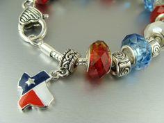 charm bracelets like pandora | PANDORA STYLE CHARM BEAD BRACELET TEXAS | ELLORA - Jewelry on ArtFire