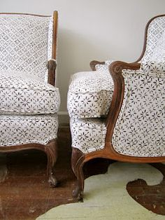 The Devine Life - Chairloom chairs recovered in Michael Devine hand printed Petite Fleur.