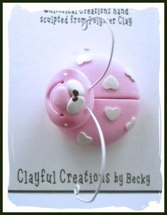 Becky's Polymer Clay Pink Lovebug Pin by clayfulcreations on Etsy