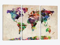 "World Map Urba Watercolor II by Michael Tompsett Canvas Print 60"" L x 40"" H x 0.75"" D"