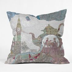 Belle13 4 O Clock Tea London Map Throw Pillow | DENY Designs Home Accessories