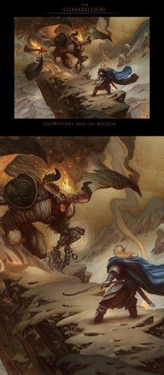 Glorfindel and the Balrog, by Justin Gerard ~ Glorfindel killed the Balrog, by himself, and survived. Unlike Gandalf. Initially.