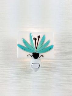 Nightlight lotus flower turquoise fused glass baby by VeilleSurToi, $35.00
