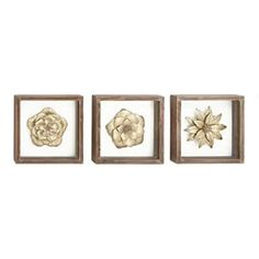 Urban Designs 7783444 Gold Metal Flowers Framed Wall Art - Set of 3 Gold    Floral aluminum metal wall art also known as floral metal wall art is a beautiful way to decorate your home.  You can get all kinds of unique, pretty and cool home decorating ideas by combining metal, glass, leather and cloth to really make your home multi dimensional and full of life.